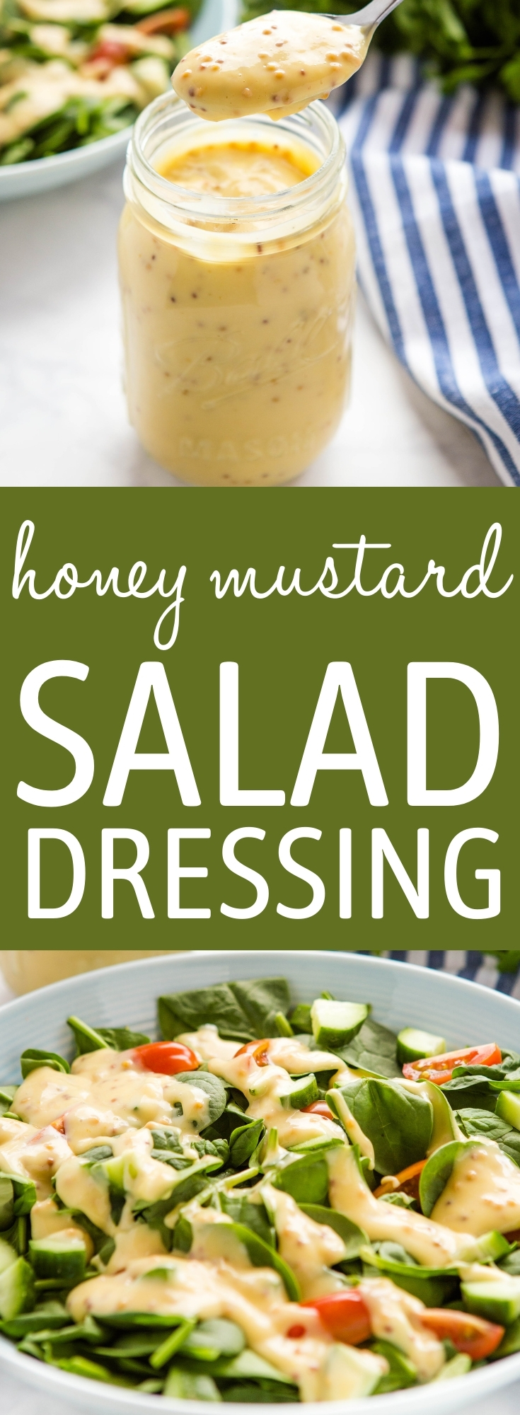 This Honey Mustard Salad Dressing is tangy, creamy and sweet and it's so easy to make with only 5 simple ingredients! Perfect for all your favourite salads! Recipe from thebusybaker.ca! #honeymustard #saladdressing #homemade #homemadedressing #salad #healthy #mustard via @busybakerblog