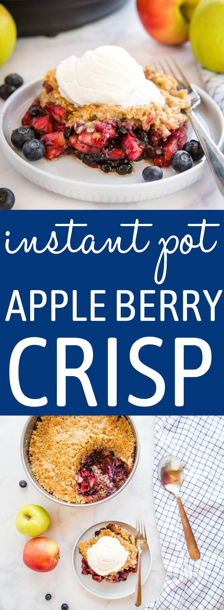 This Instant Pot Apple Crisp with Berries is the perfect simple dessert made with fresh apples, berries, and a few basic pantry ingredients - made quick and easy in the Instant Pot! Recipe from thebusybaker.ca! #applecrisp #berries #summer #dessert #easydessert #baking #InstantPot #instantpotbaking #pressurecooker #instantpotdessert #fruit #glutenfreedessert #glutenfree via @busybakerblog