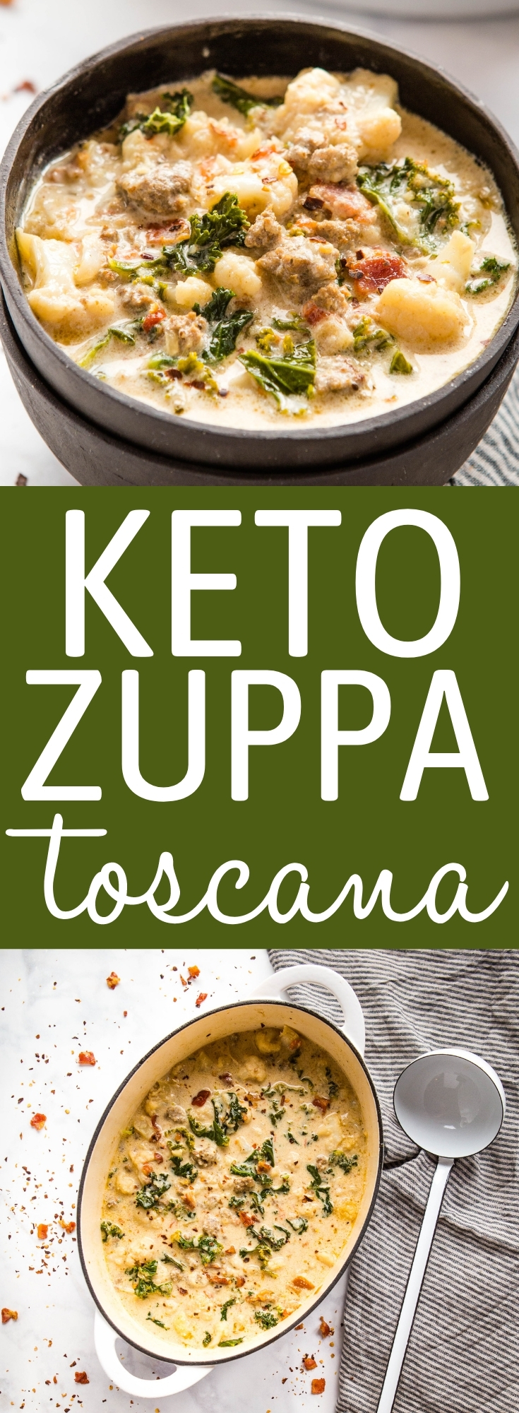 This Keto Zuppa Toscana is ultra creamy and packed with traditional flavours! A delicious Olive Garden restaurant copycat recipe made low carb, with only 7 grams of net carbs! Recipe from thebusybaker.ca! #keto #copycat #olivegarden #lowcarb #zuppatoscana #restaurantcopycat #easytomake #homemade #soup #Italian via @busybakerblog