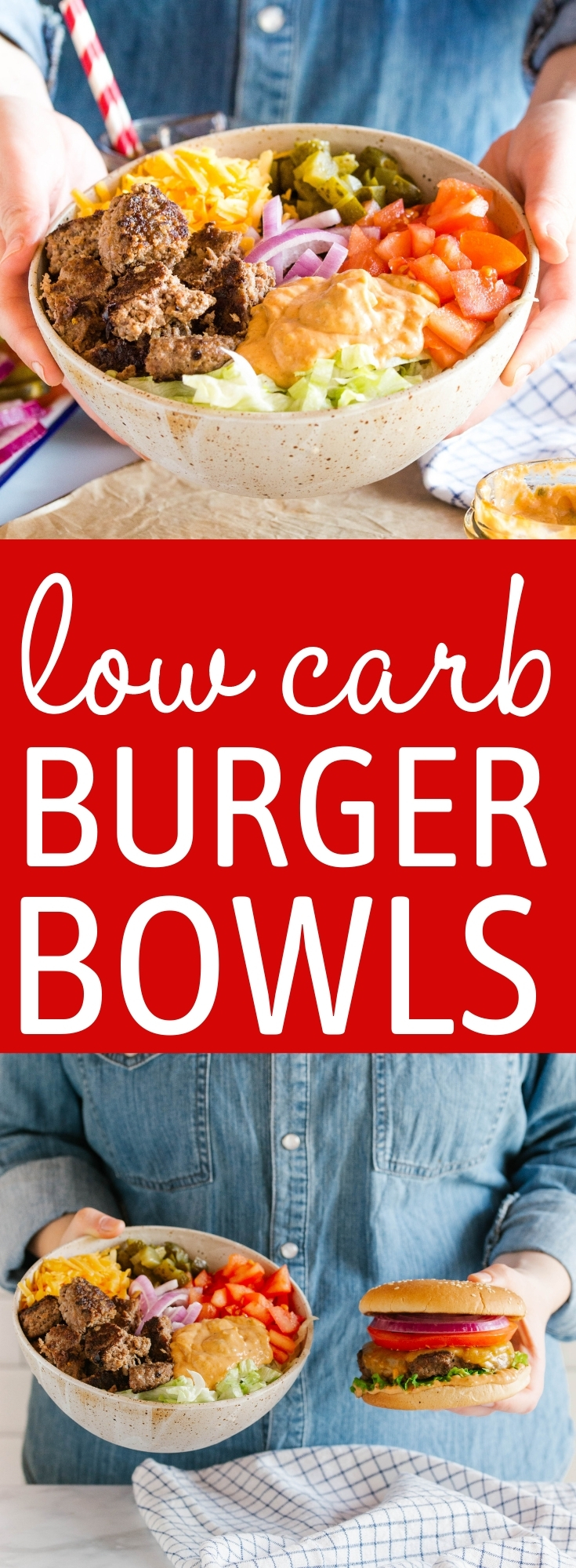 These Keto Burgers in a Bowl are the perfect low carb burger for summer! Made with juicy homemade burger patties, lettuce, cheese, pickles, tomatoes, onions and a secret burger sauce! Recipe from thebusybaker.ca! #keto #burgers #lowcarb #barbecue #summerrecipe #dinner #easytomake #recipe via @busybakerblog