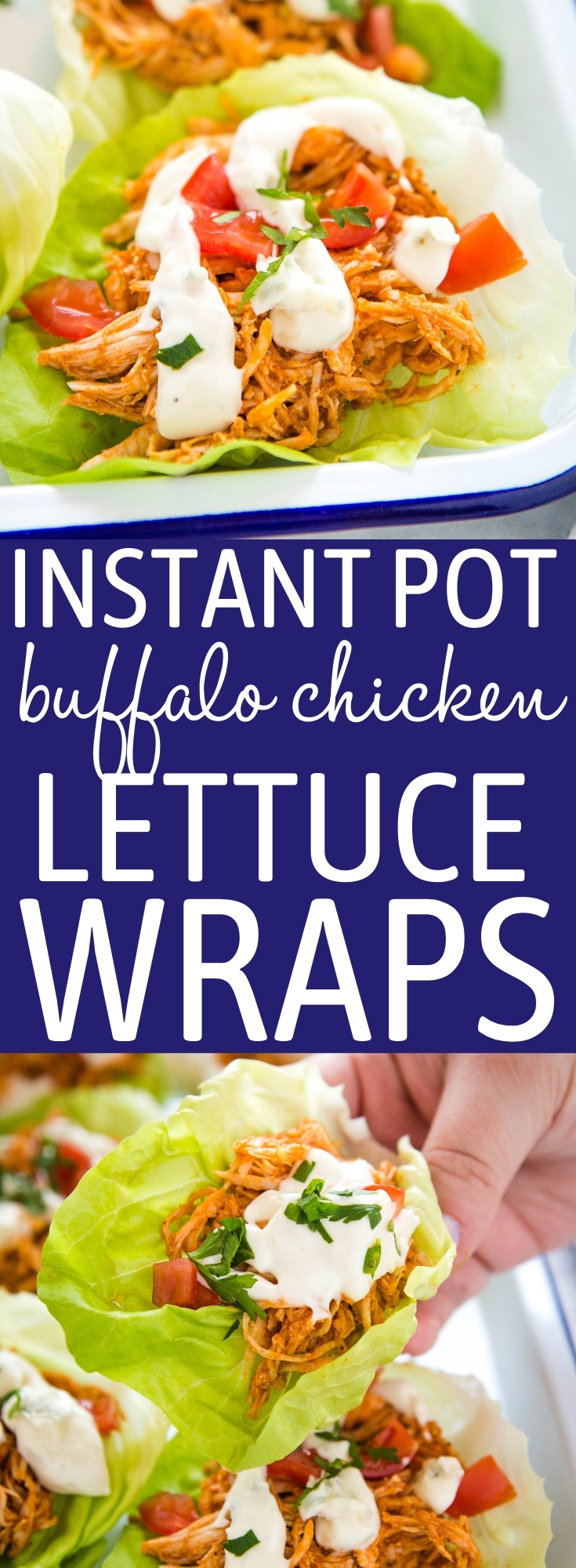 This Instant Pot Buffalo Chicken is easy to make in 20 minutes! It's so juicy and spicy, with the best buffalo flavour! Serve it in tacos or low carb lettuce wraps with blue cheese dressing! Recipe from thebusybaker.ca! #buffalochicken #instantpotbuffalochicken #instantpotchicken #buffalochicken #lowcarbbuffalochicken #buffalochickenlettucewraps #keto via @busybakerblog