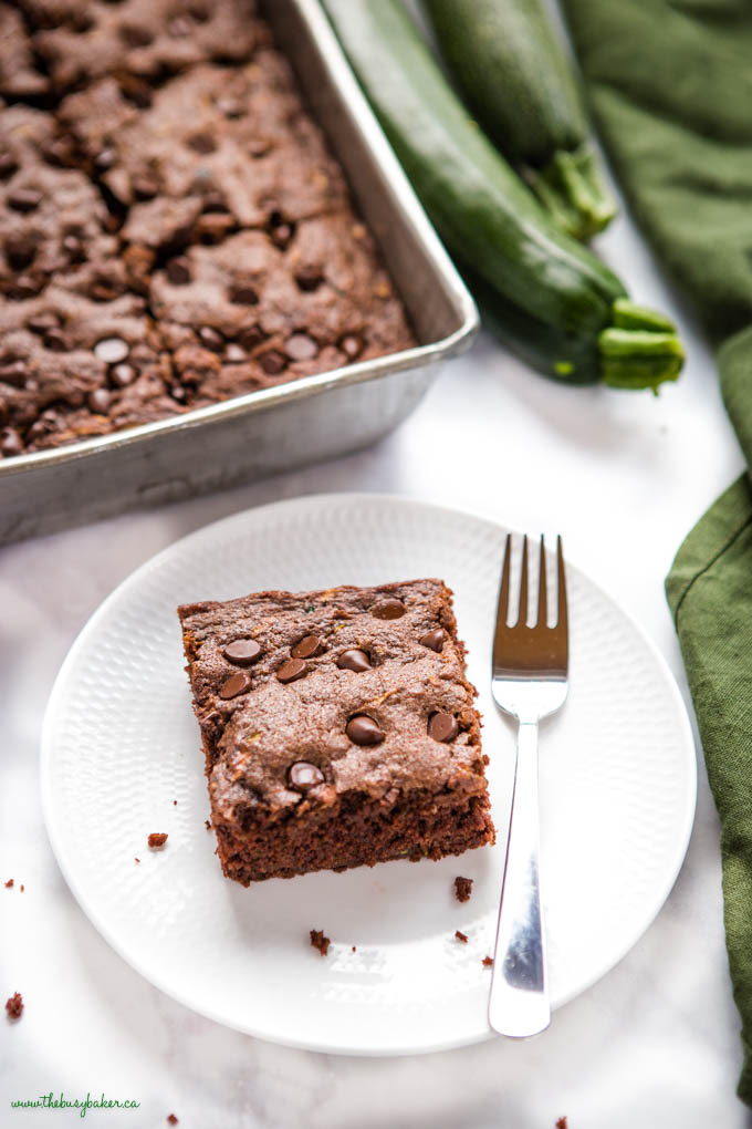 slice of chocolate cake with zucchini