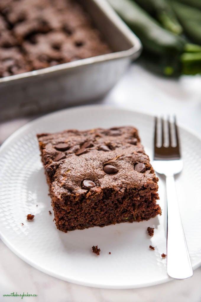 slice of zucchini chocolate cake