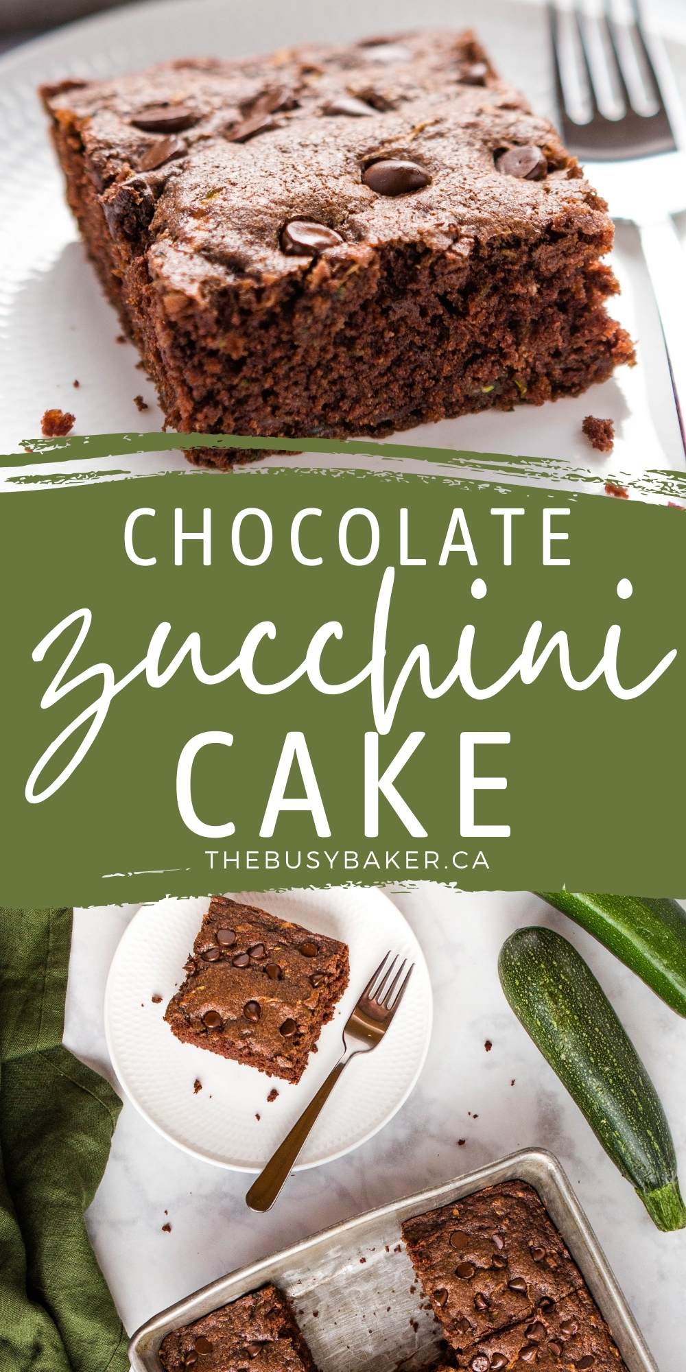 This Zucchini Chocolate Cake is moist and delicious, easy to make, and packed with delicious chocolate flavour and fresh zucchini! Recipe from thebusybaker.ca! #zucchinicake #zucchinibread #chocolatezucchinicake #zucchinichocolate #cake #baking #homemade via @busybakerblog