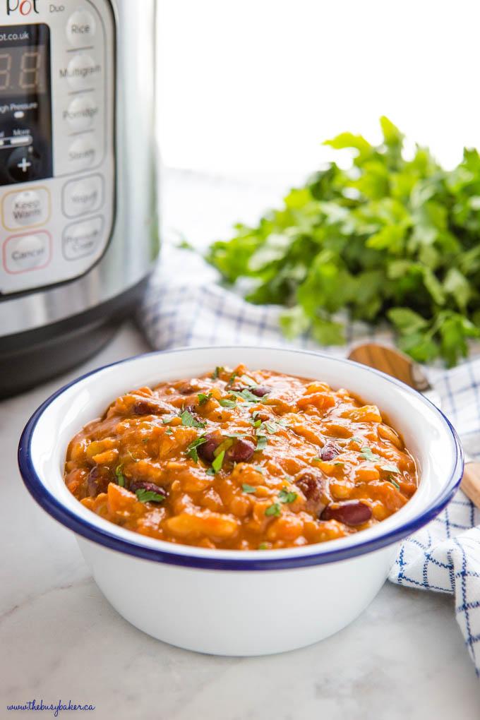 bowl full of instant pot vegan chili