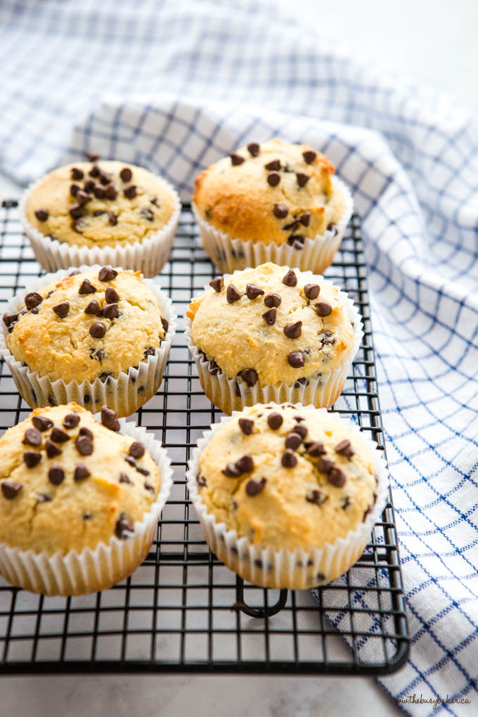 keto muffins with chocolate chips on a wire rack