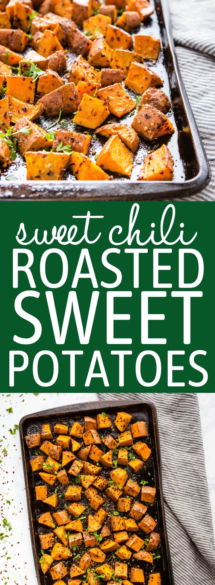These Spicy Roasted Sweet Potatoes are easy-to-make pan-roasted sweet potatoes flavoured with sweet honey, smoky paprika and spicy chili. Easy to make in under 25 minutes! Recipe from thebusybaker.ca! #sweetpotatoes #roasted #sweetchili #sidedish #spicy #vegetarian via @busybakerblog