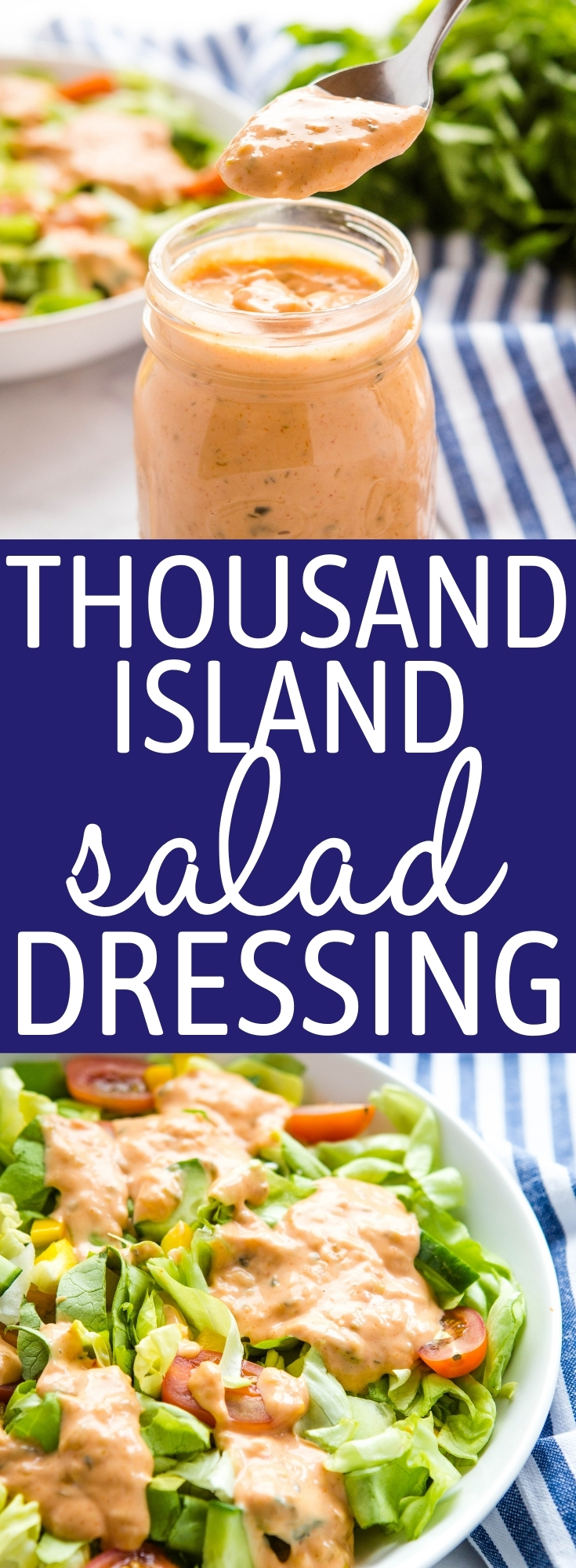 This Thousand Island Dressing is ultra tangy, sweet and creamy and it's so easy to make with simple pantry ingredients! It's the perfect secret sauce for all your favourite salads or sandwiches! Recipe from thebusybaker.ca! #thousandisland #saladdressing #salad #sauce #bigmacsauce #reubensandwichsauce #secretsauce #frysauce via @busybakerblog