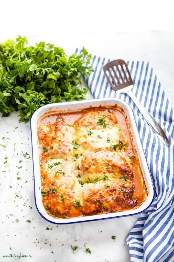 pan of lasagna stuffed chicken