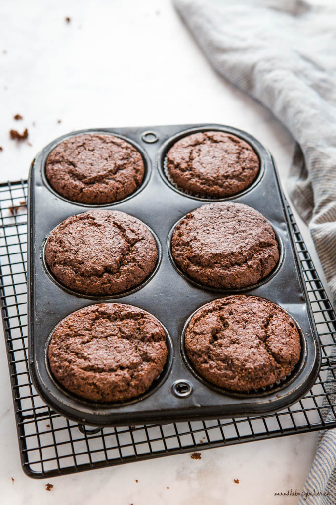 chocolate keto muffins in black muffin tin