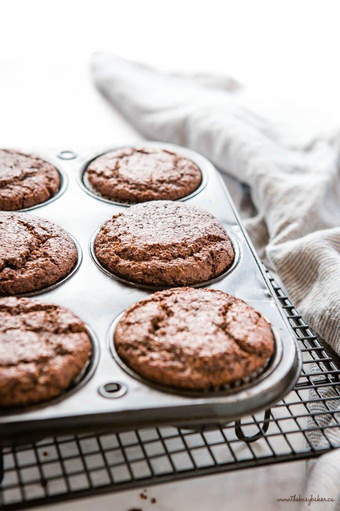 muffin tin with chocolate keto muffins