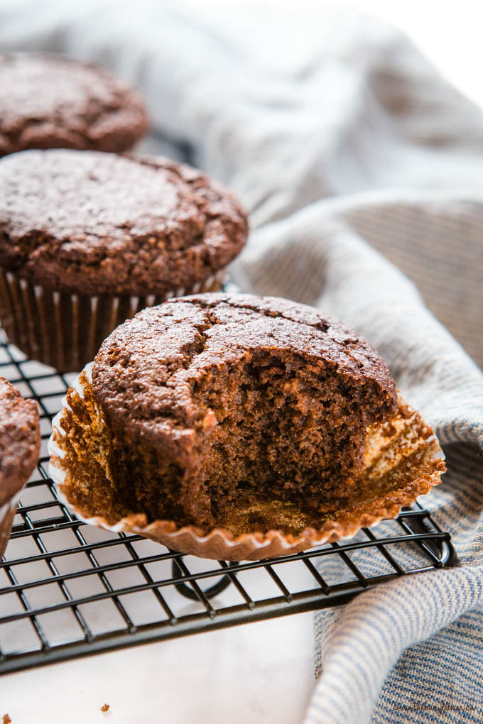 keto chocolate muffin with a bite missing