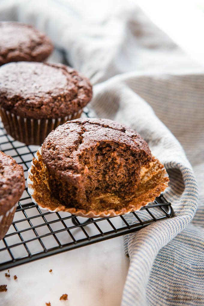 keto chocolate muffin with bite missing