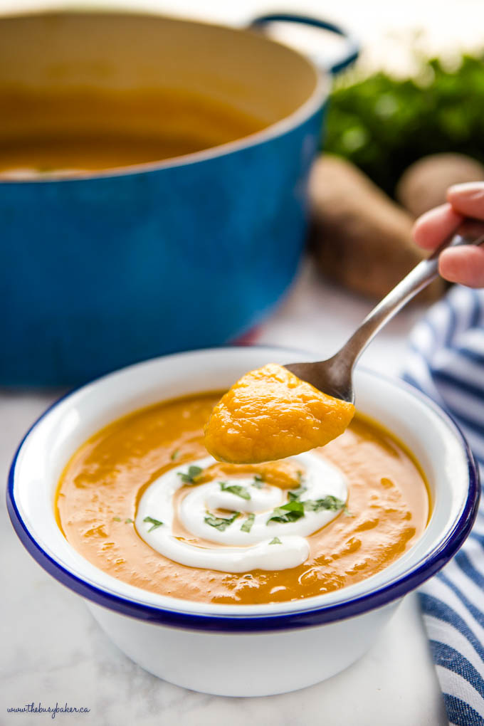 spoonful of sweet potato soup