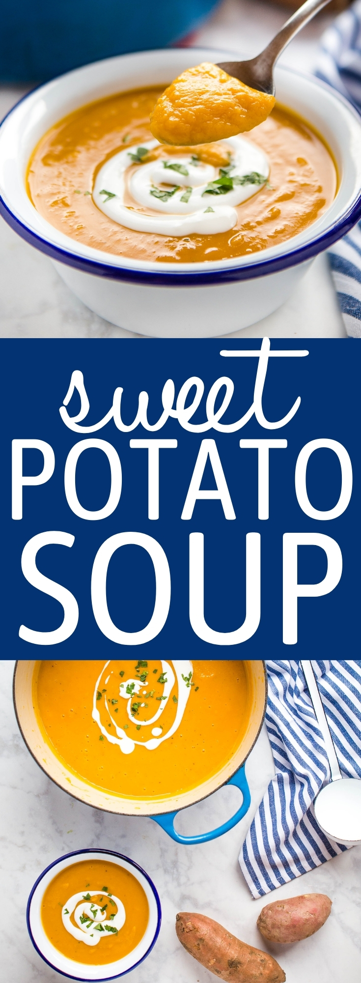 This Sweet Potato Soup is an easy hearty and filling soup, creamy and delicious - made with sweet potatoes, fresh ginger, and coconut milk for the BEST healthy vegan soup for fall and winter! Recipe from thebusybaker.ca #sweetpotato #soup #homemade #vegan #healthy #homemade #creamysoup #homemadesoup #sweetpotatosoup via @busybakerblog