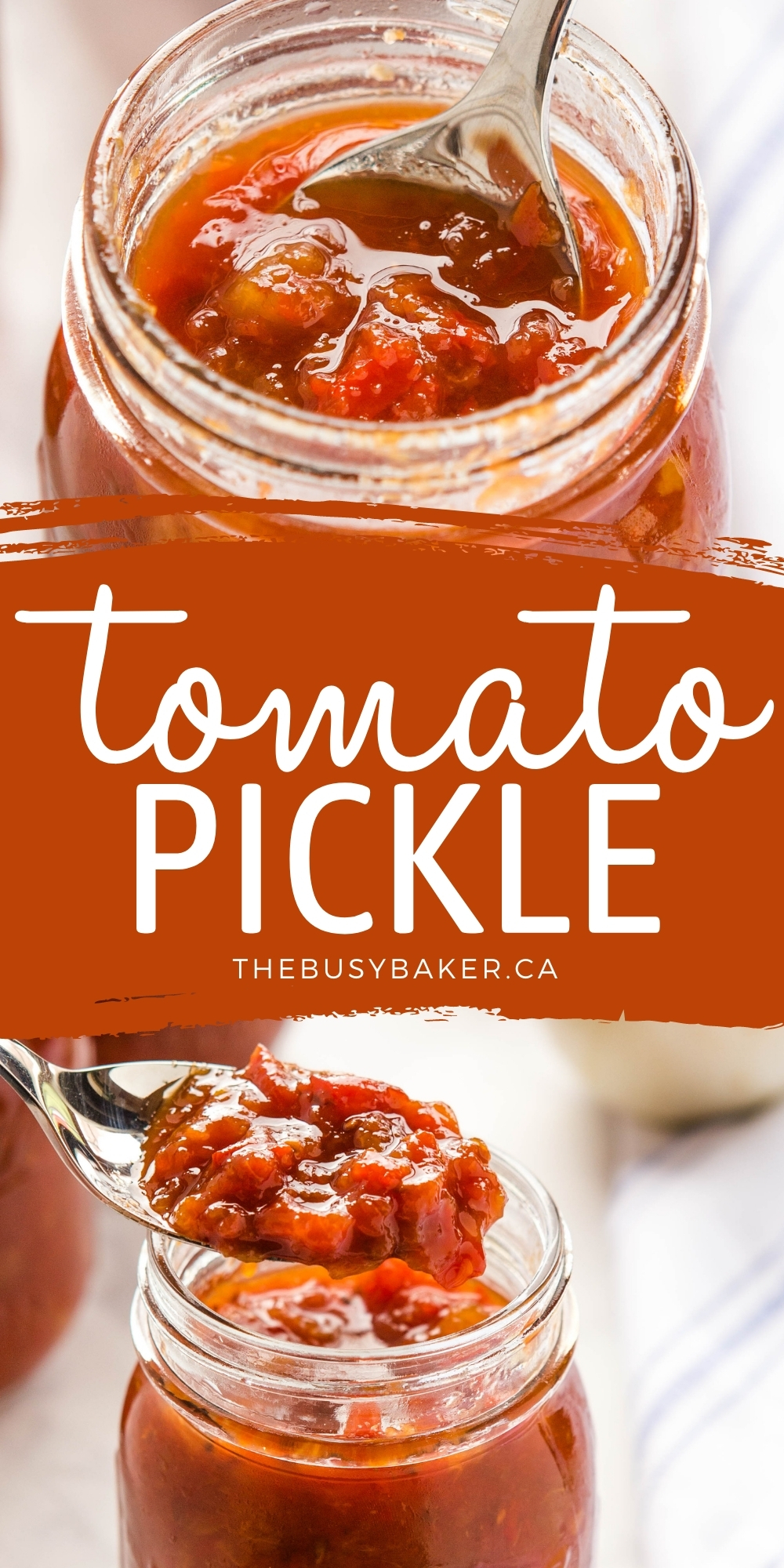 This Tomato Pickle is a classic sweet fruit relish or chutney made from fresh tomatoes, onions, bell peppers, peaches and pears - the perfect condiment for your favourite savoury dishes! Recipe from thebusybaker.ca! #chutney #tomatopickle #fruitrelish #relish #canning #homesteading #garden #fresh #homemade via @busybakerblog