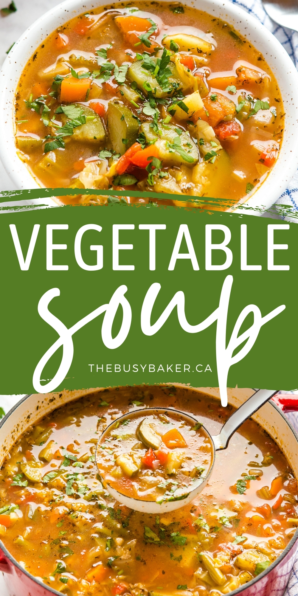 This Vegetable Soup is the perfect veggie-packed healthy meal! Made with fresh or frozen vegetables, vegan and plant-based, and only 80 calories per serving! Recipe from thebusybaker.ca! #vegetablesoup #vegan #vegetarian #soup #homemade #homesteading #fromscratch #health #healthy #onepot #lowcarb #keto via @busybakerblog