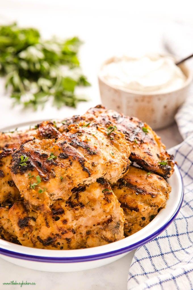 grilled greek yogurt marinated chicken thighs