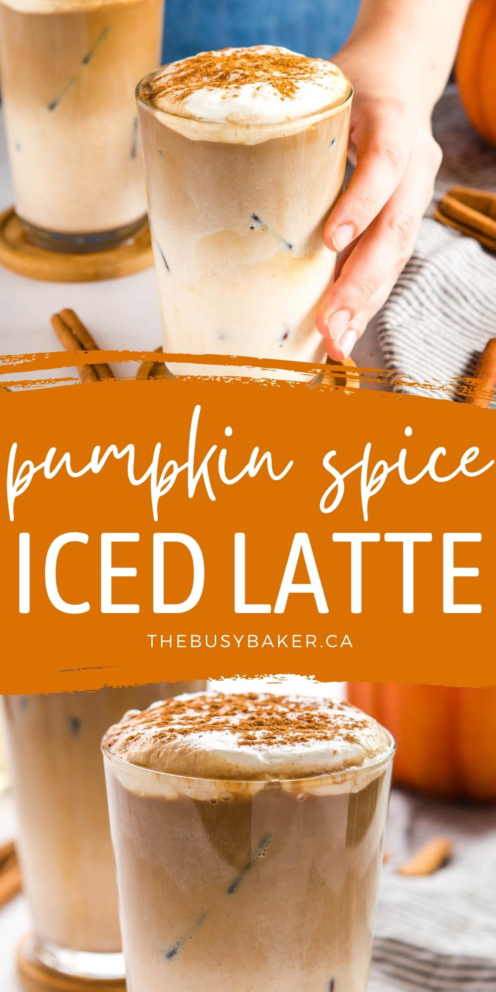 This Pumpkin Spice Iced Latteis the perfect pumpkin spice iced coffee - Simple espresso, an easy-to-make syrup to sweeten, and pumpkin spice flavoured milk! Easy to make dairy-free and sugar-free! Recipe from thebusybaker.ca! #pumpkinspice #icedcoffee #icedlatte #starbucks #homemade via @busybakerblog