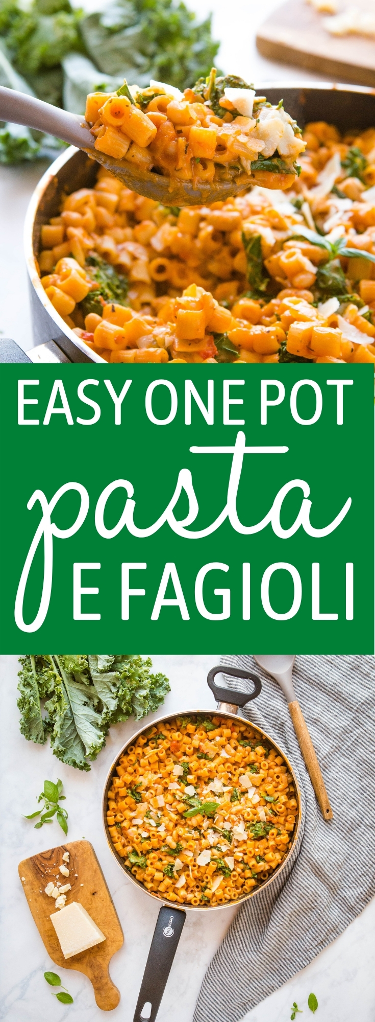 This One Pan Pasta with Beans is the perfect vegetarian easy weeknight meal made with basic pantry ingredients - plant-based and on the table in 25 minutes or less! Recipe from thebusybaker.ca! #pastaefagioli #italian #onepotpasta #onepan #weeknightmeal #easymeal #vegetarian via @busybakerblog