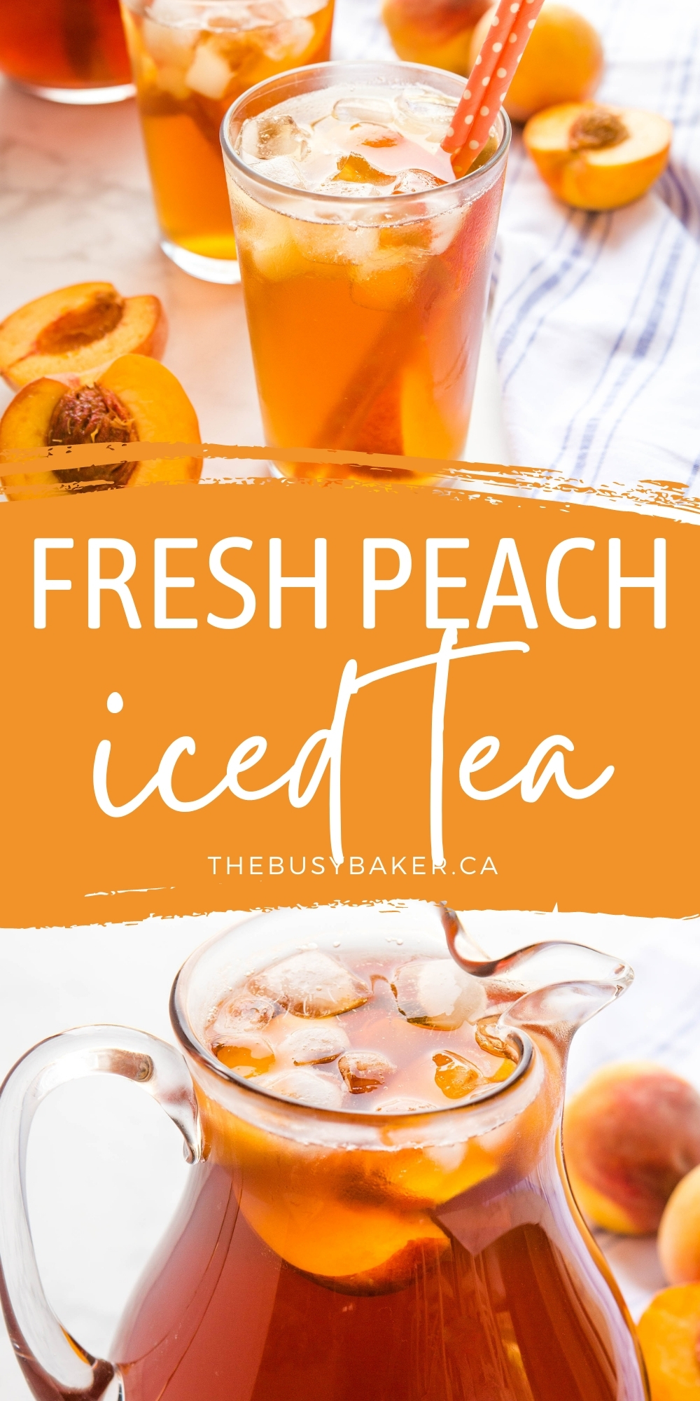 This Peach Tea is a refreshing sweet summer drink made with black tea, fresh peaches and an easy homemade sugar syrup! Simple to make and perfect for summer! Recipe from thebusybaker.ca! #peachtea #icedtea #summer #drink #homemade #blacktea via @busybakerblog