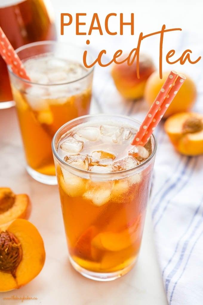 peach tea with ice
