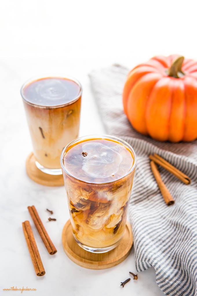 pumpkin cream cold brew coffee in tall glass