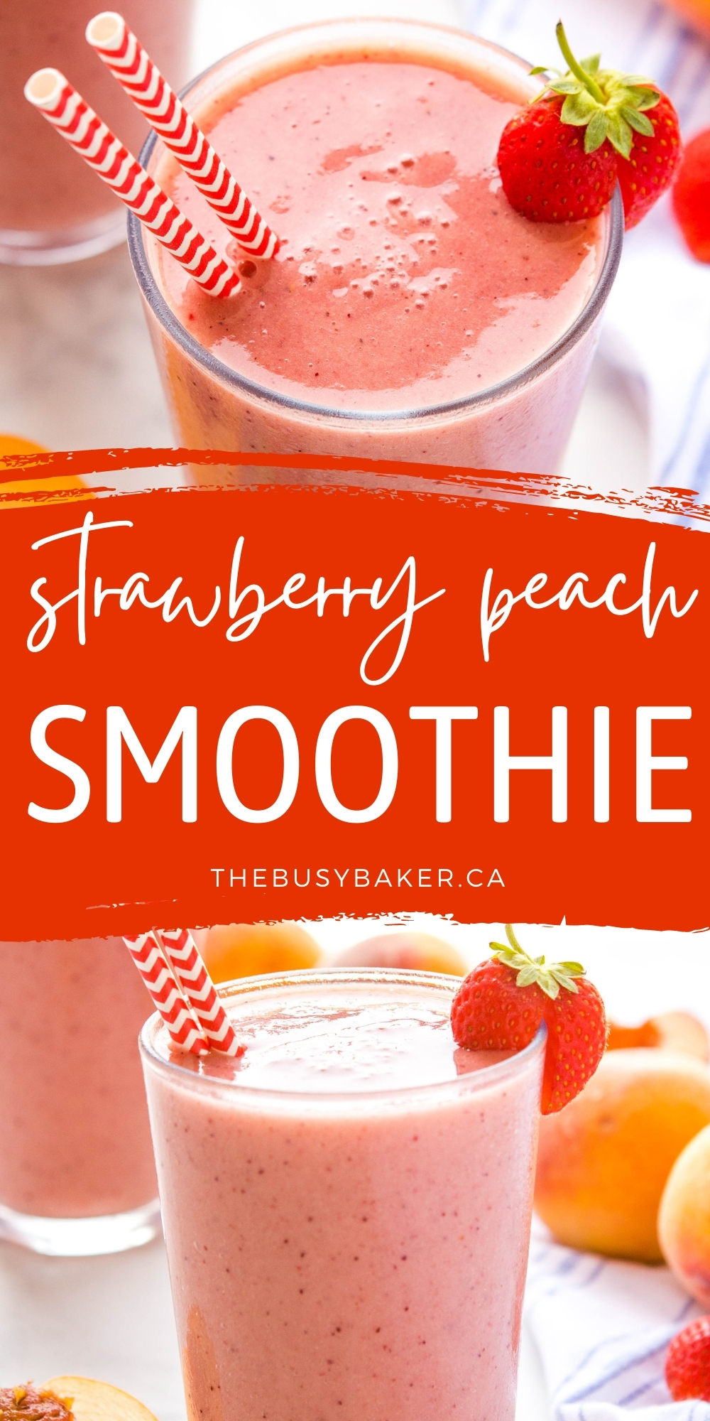 This Strawberry Peach Smoothie is is creamy and delicious, packed with peaches, strawberries, and bananas - nutritious, dairy-free, and easy to make for the best breakfast or snack!Recipe from thebusybaker.ca! #smoothie #breakfast #healthy #nutrition #easytomake #snack #postworkout #fruit #strawberrypeachsmoothie via @busybakerblog