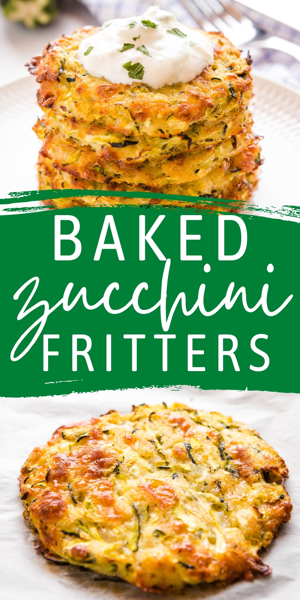 These Baked Zucchini Fritters are the perfect easy meal or snack made with fresh zucchini & cheese, and served with tzatziki - packed with flavour and a healthy choice!Recipe from thebusybaker.ca! #zucchini #bakedzucchinifritters #baked #veggie #vegetarian #fritters #easytomake #healthy #familymeal #snack via @busybakerblog