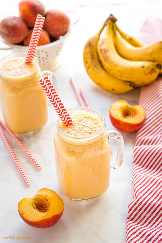 fresh peach smoothie with bananas