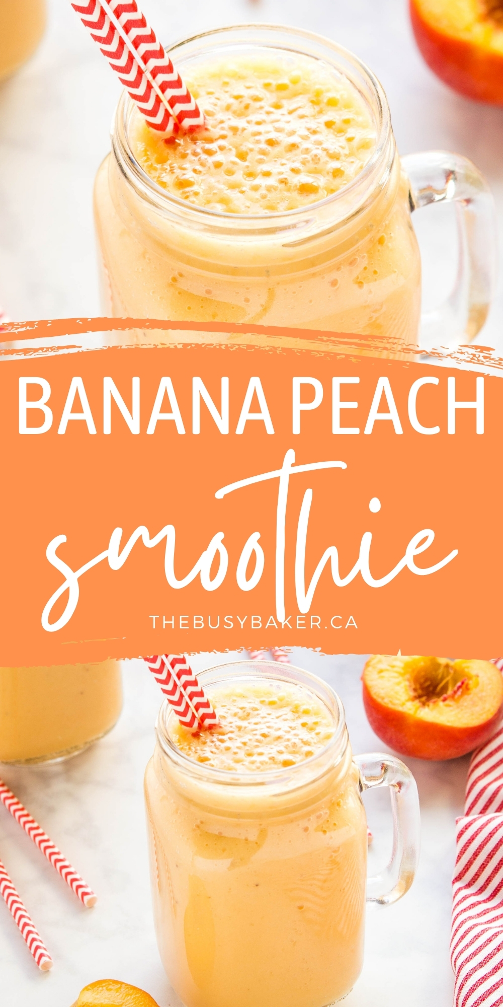 This Banana Peach Smoothie is creamy and delicious, packed with bananas and peaches - nutritious, dairy-free, and easy to make for a post-workout snack or breakfast!Recipe from thebusybaker.ca! #bananapeachsmoothie #smoothie #drink #postworkout #health #healthy #plantbased #dairyfree via @busybakerblog