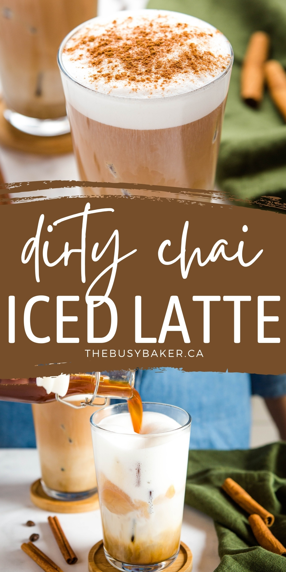 This Dirty Chai Latte is the perfect iced coffee drink for chai lovers - Simple espresso, foamed milk and spicy chai, sweetened with a simple cinnamon syrup! Easy to make dairy-free and sugar-free! Recipe from thebusybaker.ca! #dirtychai #latte #starbucks #copycat #coffee #coffeeshop #chailatte #espresso via @busybakerblog