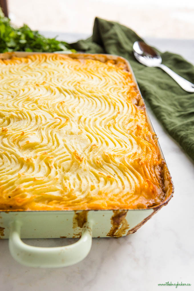 cottage pie in green baking dish