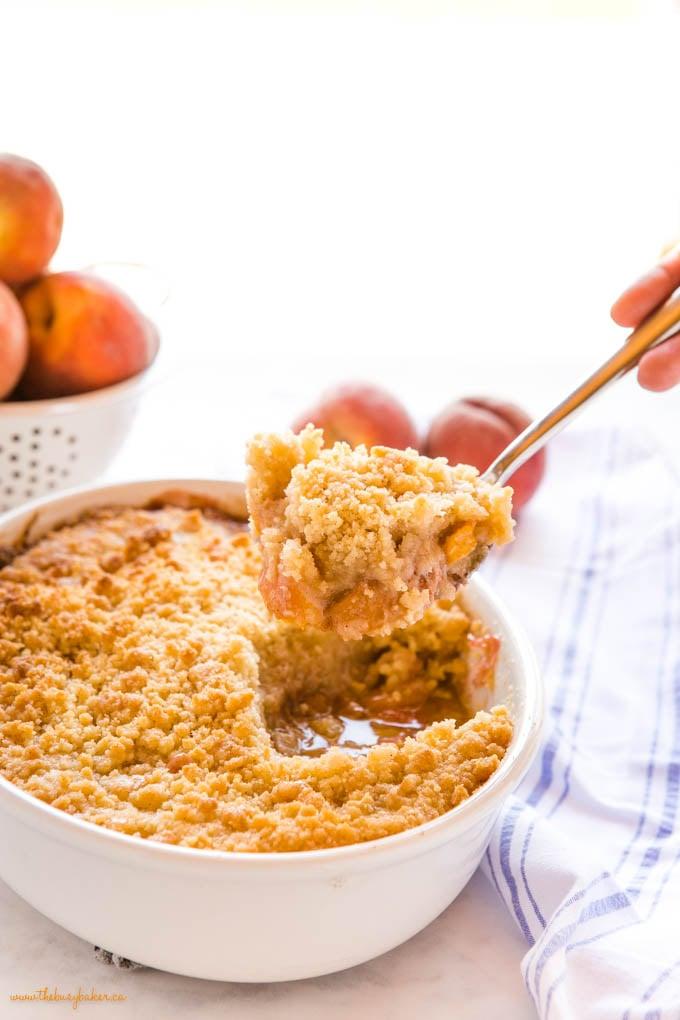 spoonful of fresh peach crumble