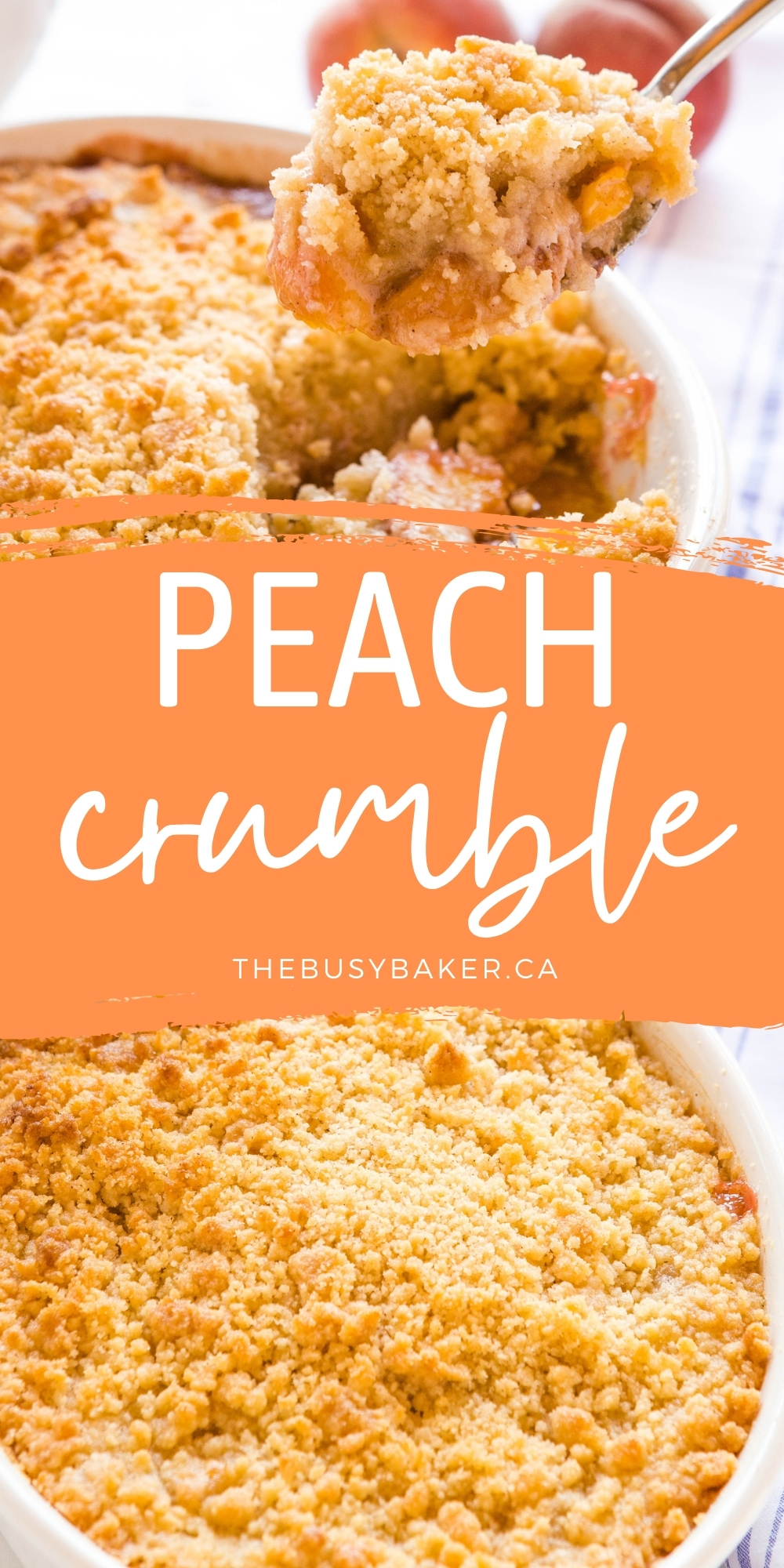This Fresh Homemade Peach Crumble is the perfect sweet and delicious fruit-packed dessert made with fresh peaches, baked to perfection with the best crumble topping. Recipe from thebusybaker.ca! #peachcrumble #peachdessert #fruitcrisp #fruitcrumble #summer #dessert #baking via @busybakerblog