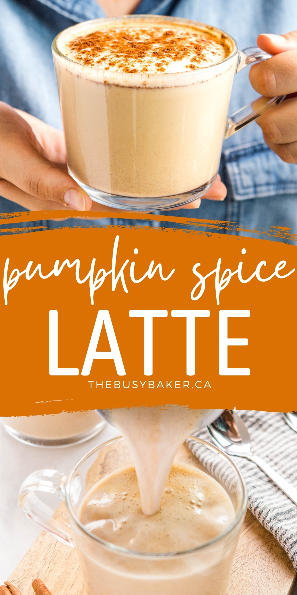 This Easy Pumpkin Spice Latte is the perfect classic fall coffee drink that's easy to make with simple espresso, spiced syrup to sweeten, and pumpkin spice flavoured foamed milk! Easy to make dairy-free and sugar-free! Recipe from thebusybaker.ca! #pumpkinspice #latte #psl #starbucks #copycat #pumpkinspicelatte #coffee #espresso #homemade #copycat #recipe via @busybakerblog