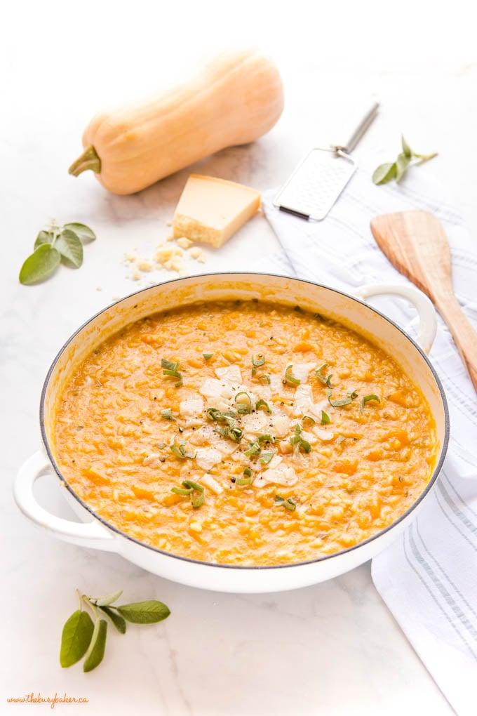 risotto alla zucca in white cast iron pan