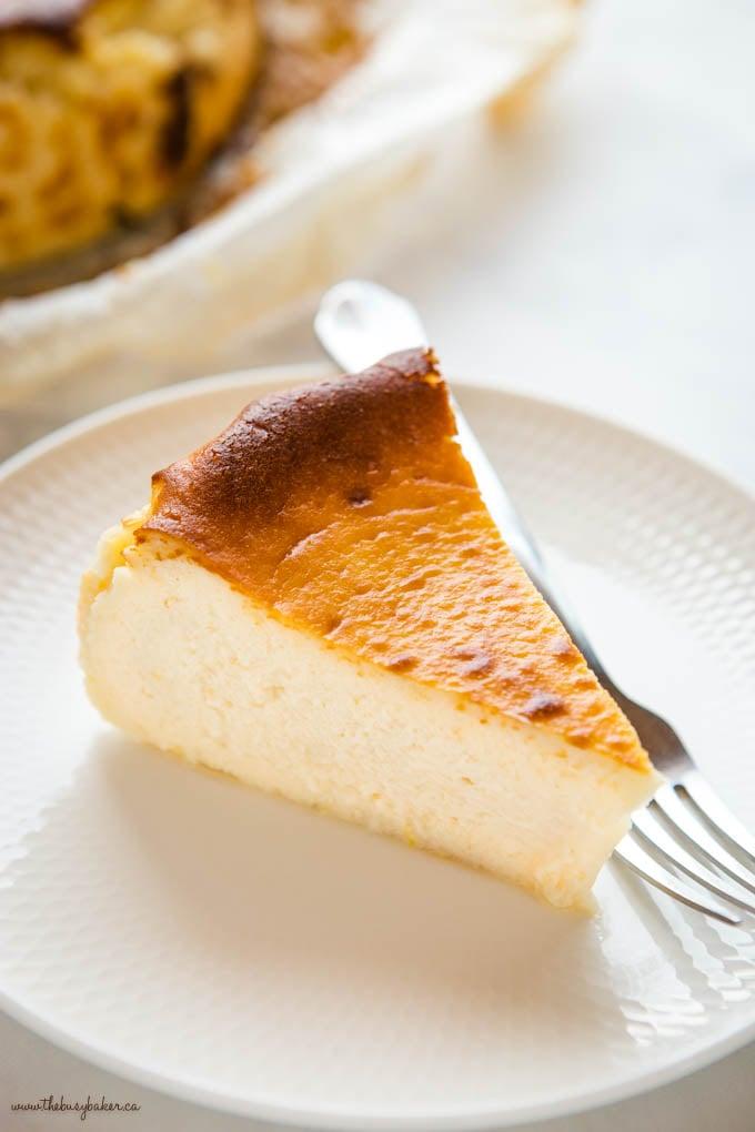 slice of san sebastian cheesecake with caramelized top