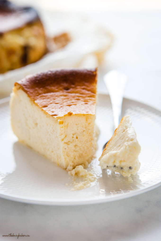 closeup image: slice of basque cheesecake with a bite on a fork