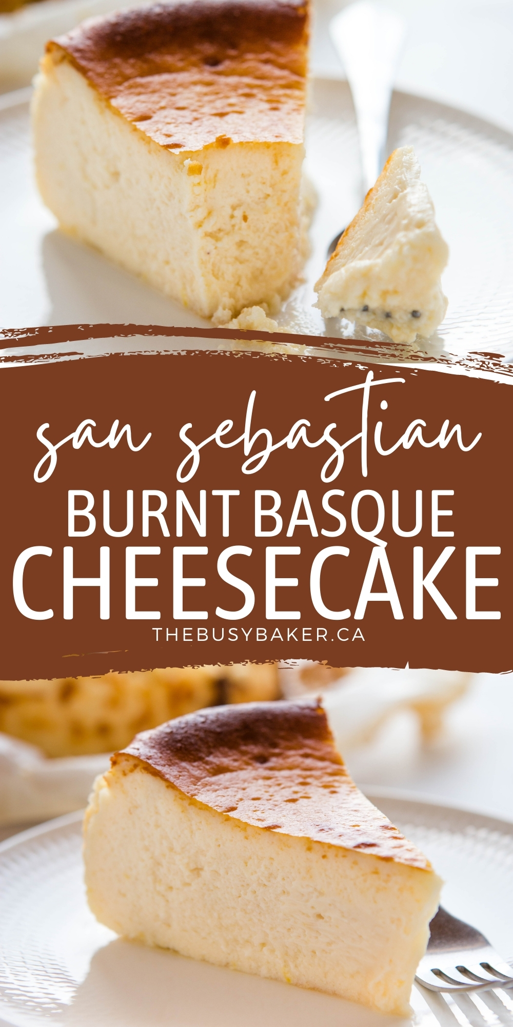 This San Sebastian Cheesecake is a traditional Spanish Basque cheesecake - perfectly light, creamy and smooth, baked to caramelized perfection! Easy to make and crustless! Recipe from thebusybaker.ca! #basquecheesecake #cheesecake #sansebastiancheesecake #creamycheesecake #bakedcheesecake via @busybakerblog