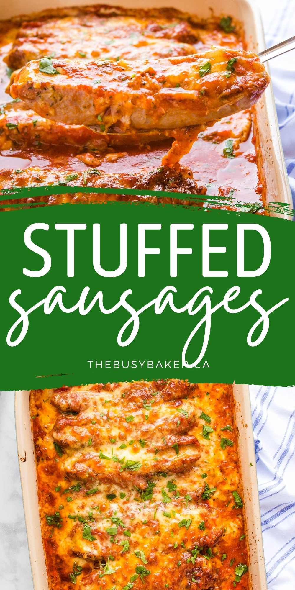 These Stuffed Sausages are packed with 2 kinds of cheese, flavourful spices, and topped with marinara sauce for the perfect low carb main dish! Recipe from thebusybaker.ca! #stuffedsausages #lowcarb #keto #maindish #sausages #cheese #mealidea #ketomeal via @busybakerblog