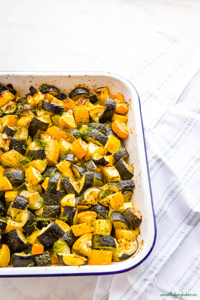 roasted squash and zucchini in white pan